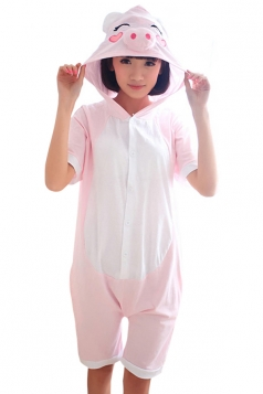 Pink Womens Pig Cotton Jumpsuit Romper Pajamas Animal Costume