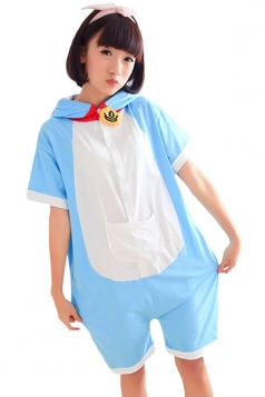 Blue Ladies Doraemon Cotton Jumpsuit Pajamas Animal Costume