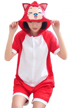 Red Stylish Ladies Ali Fox Cotton Romper Pajamas Animal Costume