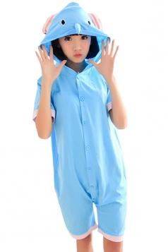 Blue Sexy Ladies Elephant Cotton Romper Pajamas Animal Costume