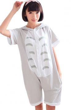 Gray Cute Womens Totoro Cat Cotton Romper Pajamas Animal Costume