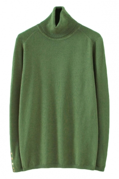 Green Pretty Womens High Collar Cotton Plain Pullover Sweater