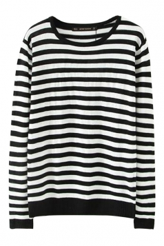 Black Fashion Womens Crew Neck Stripe Patterned Pullover Sweater