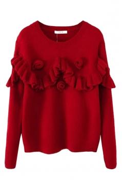 Red Ladies Crew Neck Ruffle Flower Plain Pullover Sweater