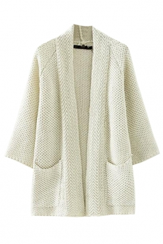 White Simple Womens Cardigan Plain Knitted Pocket Sweater Coat