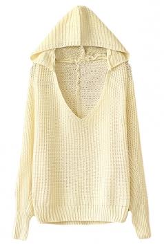 Beige White Womens V-neck Plain Pullover Hooded Knit Sweater
