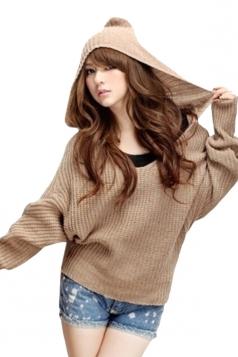 Khaki Womens V-neck Plain Pullover Hooded Knit Sweater