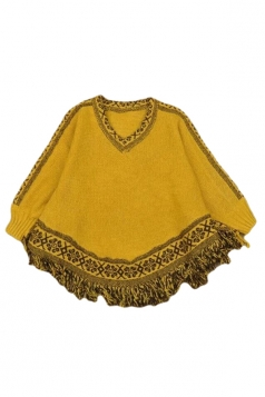 Yellow Ladies Fringe Jumper Poncho Patterned Pullover Sweater