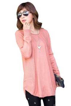 Pink Pretty Ladies Crew Neck Plain Pullover Knit Sweater