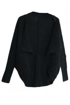 Black Trendy Womens Batwing Sleeve Plain Cardigan Sweater