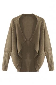 Khaki Trendy Womens Batwing Sleeve Plain Cardigan Sweater