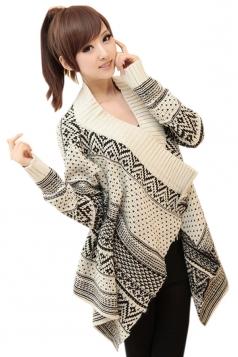 Beige Retro Womens Argyle Striped Cardigan Knit Sweater Coat