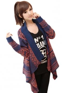 Navy Blue Retro Womens Argyle Striped Cardigan Knit Sweater Coat