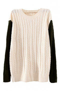 Beige Crew Neck Patchwork Cable Knit Patterned Jumper Sweater