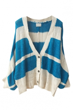Womens Batwing Sleeve Knit Striped Patterned Cardigan Sweater