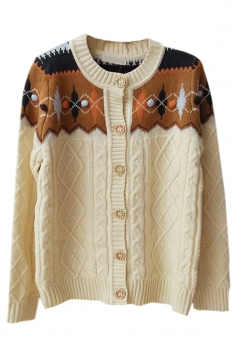 Beige White Ladies Argyle Cable Knit Patterned Cardigan Sweater