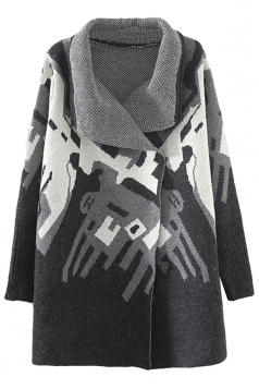 Black Loose Elegant Womens Argyle Pattern Sweater Coat