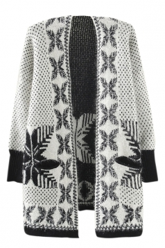 White Ladies Snowflakes Patterned Mohair Cardigan Sweater Coat