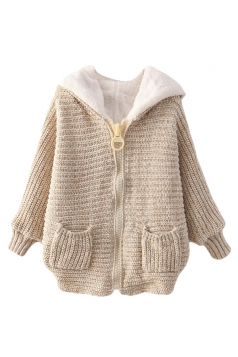 Beige White Ladies Batwing Sleeve Plain Hooded Knit Sweater Coat