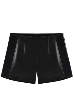 Black Fashion Ladies PU Wool Patchwork Leather Shorts