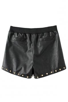 Black Pretty Womens Rivet Elastic Waist Leather Shorts