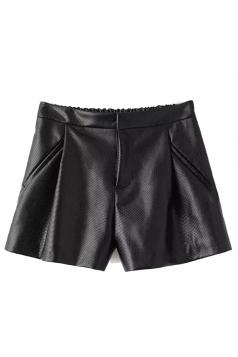 Black Charming Ladies Pleated Elastic Waist Leather Shorts