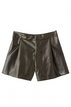 Green Pretty Womens Elastic Waist Pleated Leather Shorts