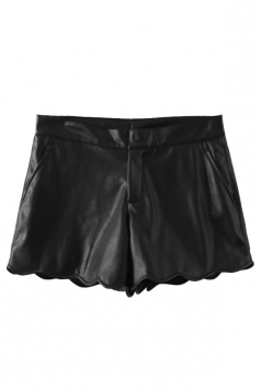 Black Trendy Ladies PU Wavy Edge Design Leather Shorts