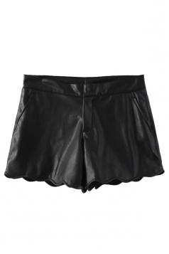 Black Trendy Ladies PU Wavy Edge Design Leather Shorts