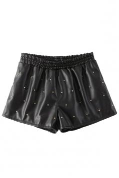 Black Fashion Womens PU Rivet Elastic Waist Leather Shorts