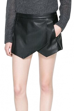 Black Pretty Ladies High Low Tiered Leather Shorts
