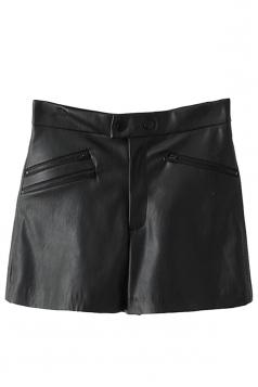 Black Trendy Ladies Zipper Patchwork High Waist Leather Shorts