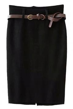 Black Pretty Ladies High Waist Slit Knitted Pencil Skirt