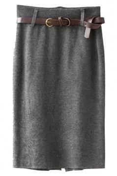 Gray Pretty Ladies High Waist Slit Knitted Pencil Skirt