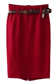 Red Pretty Ladies High Waist Slit Knitted Pencil Skirt