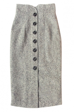 Gray Pretty Womens Vintage High Waist Button Midi Skirt