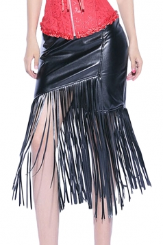 Black Pretty Ladies Irregular Fringe Leather Skirt
