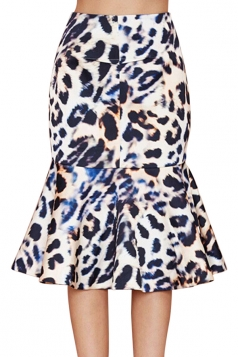 Navy Blue Sexy Ladies High Waist Leopard Print Mermaid Midi Skirt