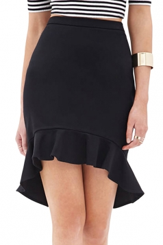 Black Sexy Ladies Plain High Low Ruffle Midi Skirt