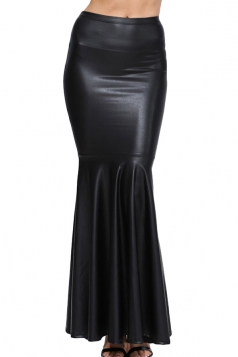 Black Stylish Ladies Plain Fishtail Maxi Leather Skirt