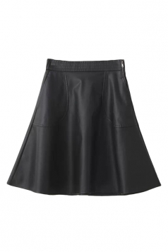 Black Trendy Womens Plain Pleated Leather Skirt