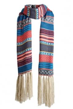 Blue Long Womens Fashion Tassels Cute Classic Striped Scarf