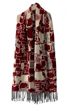 Ruby Womens Fashion Argyle Tassels Plaid Cape Scarf