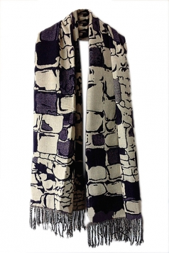 Navy Blue Womens Fashion Argyle Tassels Plaid Cape Scarf