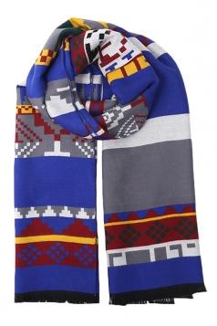 Blue Trendy Womens Warm Winter Ethnic Cape Striped Scarf