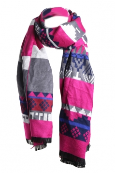 Rose Red Trendy Womens Warm Winter Ethnic Cape Striped Scarf