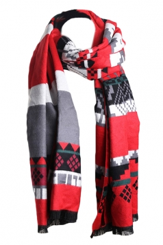 Red Trendy Womens Warm Winter Ethnic Cape Striped Scarf