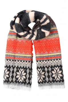 Black Pretty Ladies Snowflake Knitted Christmas Striped Scarf