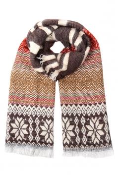 Coffee Pretty Ladies Snowflake Knitted Christmas Striped Scarf