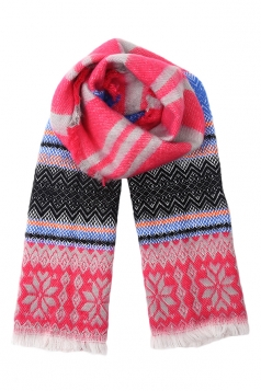 Rose Red Pretty Ladies Snowflake Knitted Christmas Striped Scarf